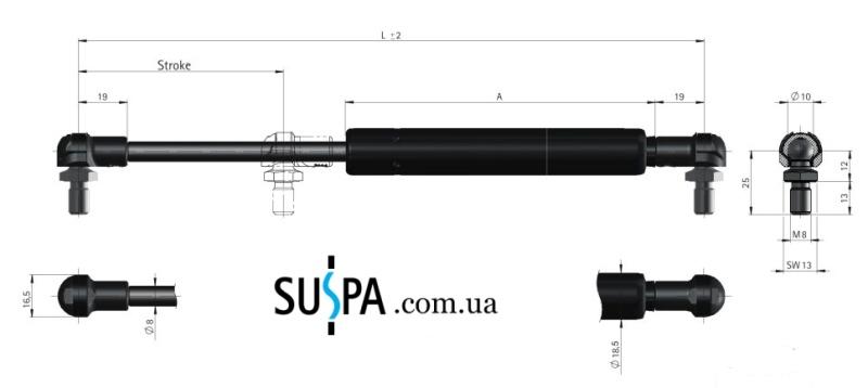 Газовые пружины, купить газлифты, амортизаторы SUSPA серия 16-1 Германия vamnado
